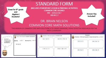 Standard Form - A PowerPoint Lesson and Printables