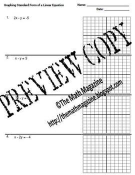 Standard Form Equations Graph Intercepts Worksheet 8.F.4 F-IF.4 F-BF ...