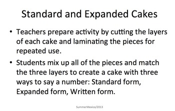 Standard Form Expanded Form Cakes