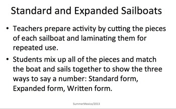 Standard Form Expanded Form Sailboats