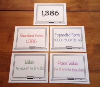 expanded form versus standard form  Standard Form, Expanded Form, Value, Place Value Bulletin Board Set