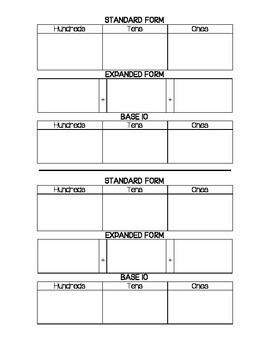 Standard Form, Expanded Form, and Base Ten Template