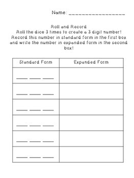 Standard Form, Expanded Form and Word Form Pack!