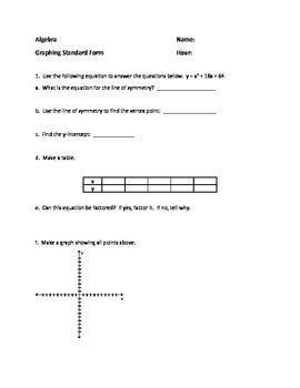 Standard Form Graphing - Quadratic Equations