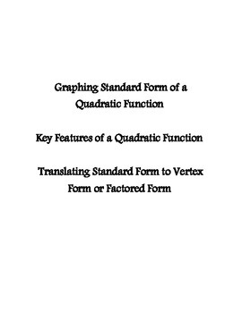 Standard Form Graphing - Quadratic Functions - Prentice Hall Supplement