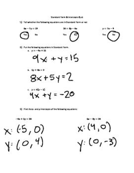 Standard Form & Intercepts Quiz