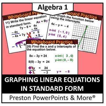 (Alg 1) Graphing Linear Equations in Standard Form in a Po