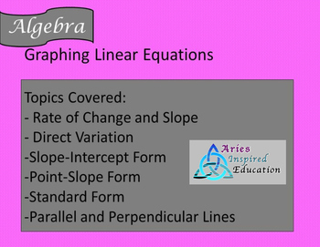 Standard Form Linear Equations Guided Notes, Homework, Powerpoint, Keys