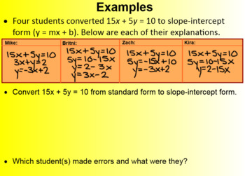 Standard Form-Linear Functions (Math 1)