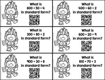 Standard Form Place Value QR Code Task Cards