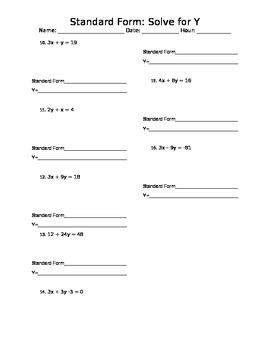 Standard Form: Solve for Y