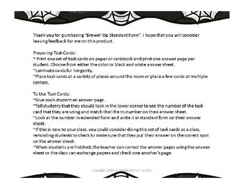 Halloween Math Standard Form Task Card - Brewin' Up Standard Form Math Centers
