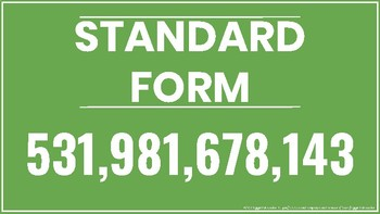 Standard Form Word Form Expanded Form Posters Resizable PDF (Vector) 4th Grade