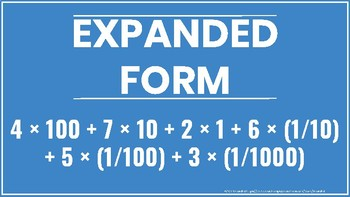 Standard Form Word Form Expanded Form Posters Resizable PDF (Vector) 5th Grade