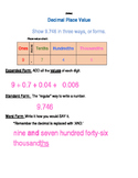 Standard Form, Word Form, and Expanded Form Decimal Place Value