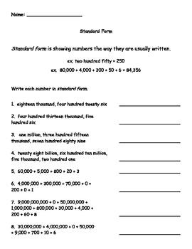 Standard Form Worksheet