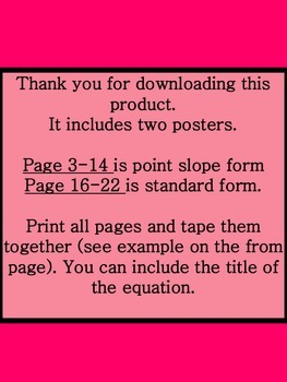 Standard Form and Point Slope Form Poster - Banner