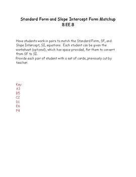 Standard Form and Slope Intercept Form Matchup