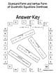 Standard Form and Vertex Form of Quadratic Equations Dominoes - PP