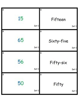 Standard Form and Word Form Matching Number Cards