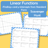 Standard Form of Linear Functions - X and Y Intercept Scav