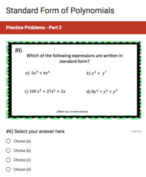 Standard Form of Polynomials (Google Form & Interactive Video Lesson!)