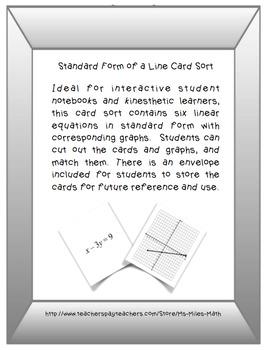 Standard Form of a Line Card Sort