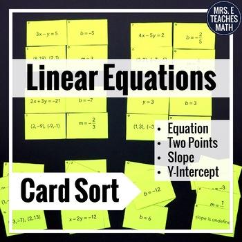 Linear Equations Card Sort