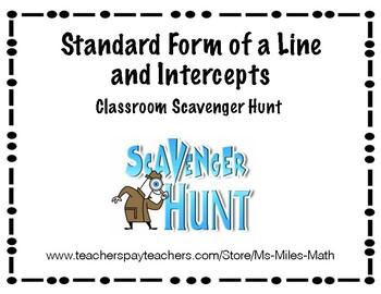 Standard Form of a Line and Intercepts Scavenger Hunt