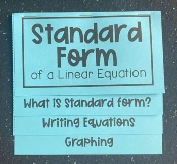 Standard Form of a Linear Equation (Foldable) for Algebra 1
