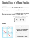 Standard Form of a Linear Equation Graphic Organizer