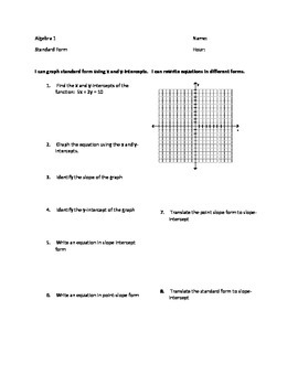 Standard Form of a Linear Equation - Graphing and Translating