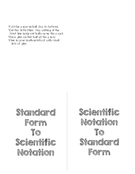 Standard Form to Scientific Notation Math Notebook Entry