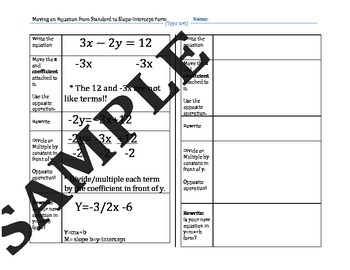 5k certificate template  Standard Form to Slope Intercept Form Graphic Organizer