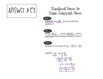 Standard Form to Slope Intercept Form Notes