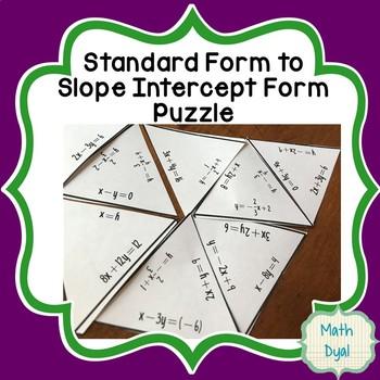 Standard Form to Slope Intercept Form Puzzle