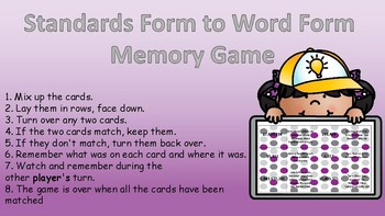 Standard Form to Word Form Memory Game