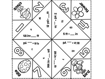 Standard Length Cootie Catchers-Inches, Feet, and Yards