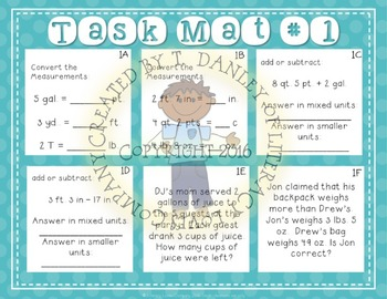 Standard Measurement Task Mat Math Center
