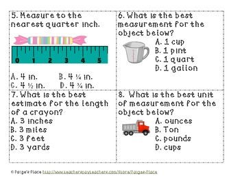 Standard Measurement Task Cards & Assessment
