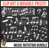 White Standard Music Notation: Digital Pieces & Clip Art BUNDLE