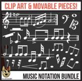 White Standard Music Notation: Digital Pieces & Clip Art BUNDLE