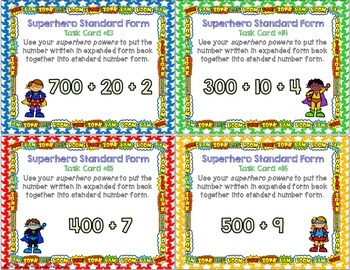 Standard Number Form Place Value Task Cards { Common Core & Differentiated }