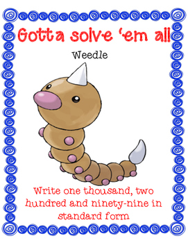 Pokemon Place Value- Writing in STANDARD FORM Scoot Game (Differentiated)