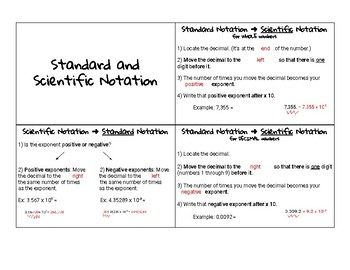 Standard & Scientific Notation Notecard