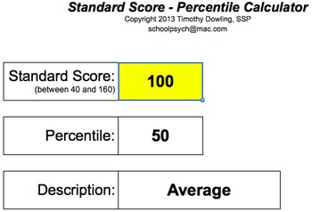 Standard Score - Percentile Calculator by Timothy Dowling | TpT