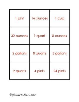 Standard Units of Volume (Gallons, Quarts, Pints, etc.) Matching Game