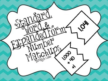 Standard, Word, & Expanded Form Number Puzzle Match-ups
