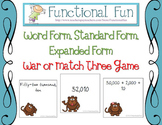 Standard, Word, Expanded Form War or Match Three Game
