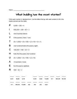 Standard, Word, Expanded, and Unit Number Forms Math Riddles